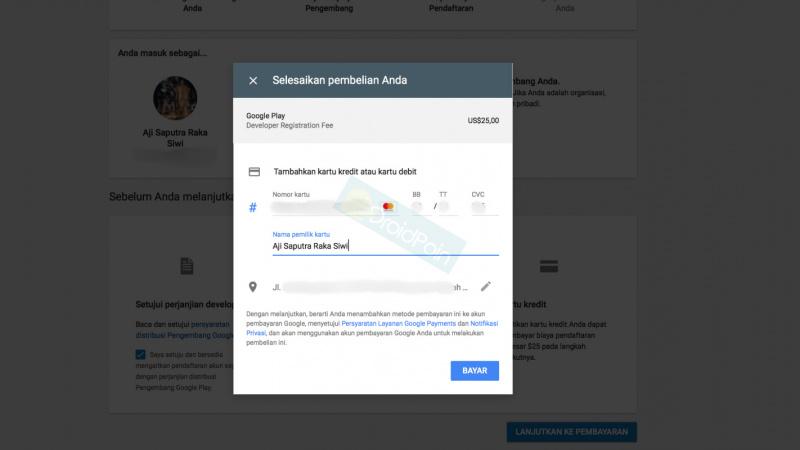 Cara mendaftaran akun google play developer